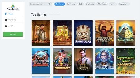 Casilando casino games selection