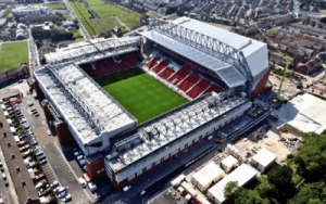 Overview photo of Anfield Football Stadium in Liverpool, England