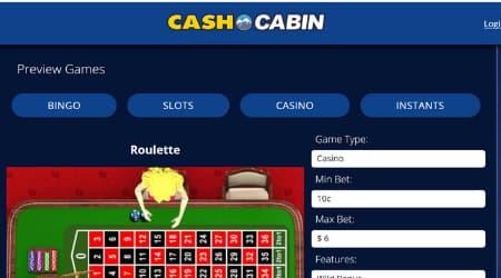 Cash Cabin casino game offer