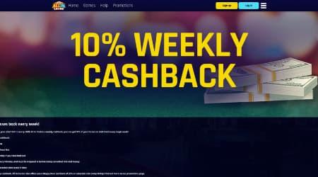 Allin Casino 10% weekly cashback
