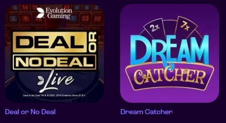 Deal or No Deal and Dream Catcher on Wheelz Casino Game page