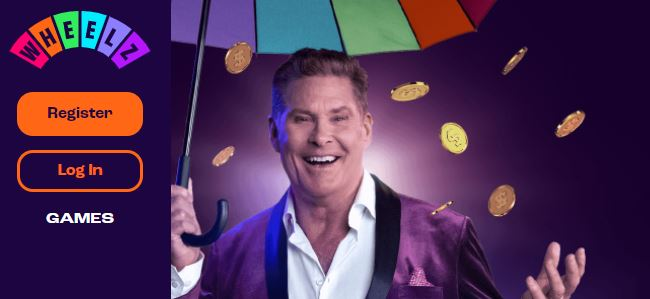 David Hasselhoff holding umbrella on Wheelz Casino home page
