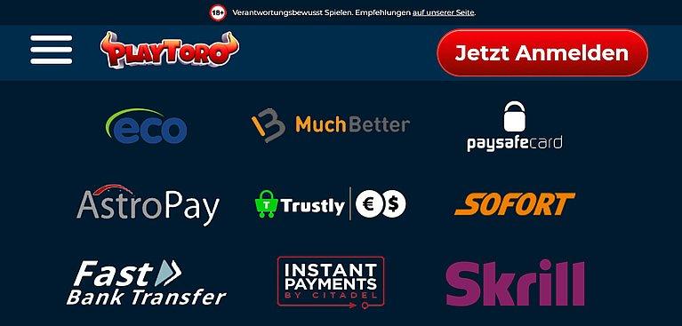 PlayToro Zahlungsmethoden