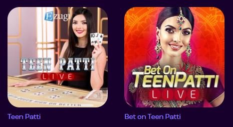 Teen Patti Live Casino Game on Wheelz Casino Selection page