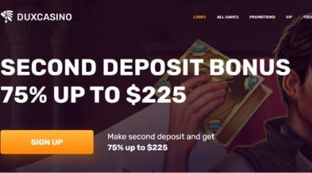 Dux Casino Welcome Deposit Bonus