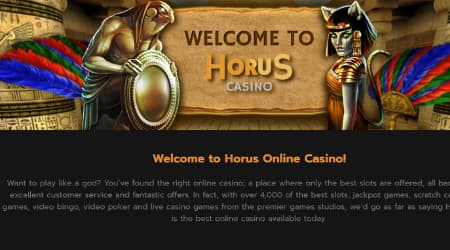Horus Casino Welcome page