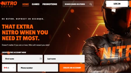 Nitro Casino Sign-up page