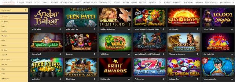 Melbet Casino India Game Slots Selection