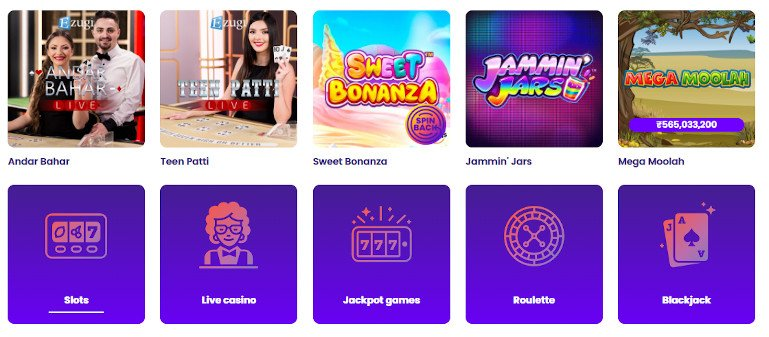 Wildz Casino India Game Selection including Indian Favourites like Teen Patti