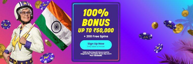 Wildz Casino India Homepage Welcome bonus Offer