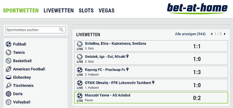 Bet-at-Home Wetten & Quoten