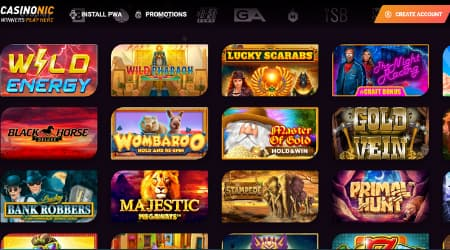 Casinonic games selection