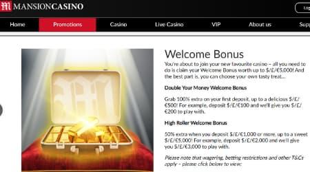 Mansion casino promotions