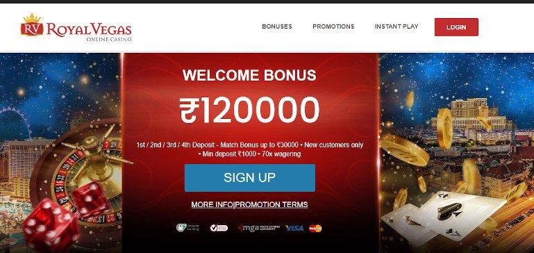 Royal Vegas Casino India Welcome Offer Homepage Screenshot