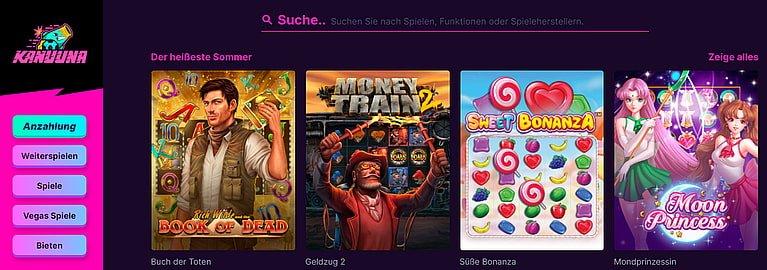 Kanuuna Slot Spiele und Games